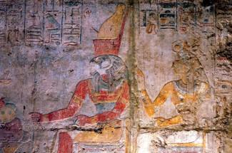 EGYPTE - Basse Nubie Temple de Kalabcha Bas-reliefs peints (avec Horus)
