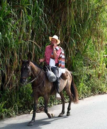 COLOMBIE Cordilière des Andes vers Manizales Un agriculteur sur la route, avec son poncho et son chapeau de paille