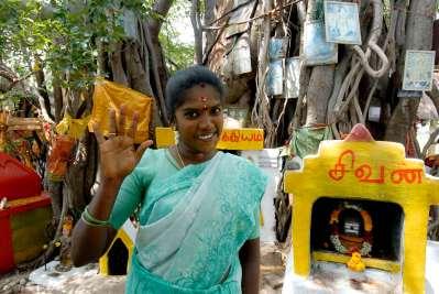 INDE du SUD Tamil Nadu Petit temple devant un banian sur le bord de la route