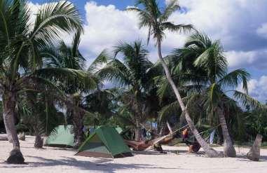 MEXIQUE - Yucatan Tentes sur la plage à Tulum