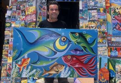 BRESIL - Salvador Da Bahia Peintre dans le Pelourinho