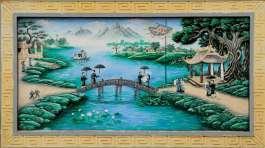VIETNAM Peinture au temple Den Do, vers Hanoï